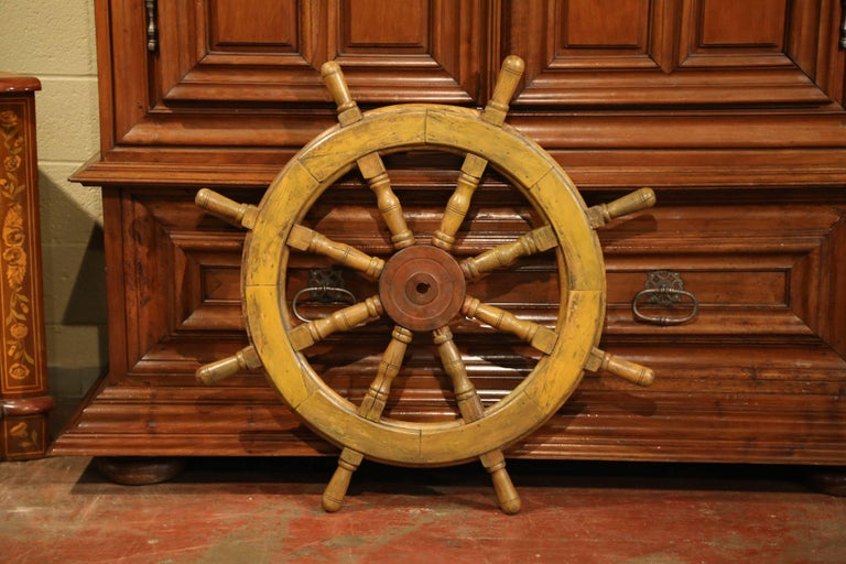19th Century French Carved Walnut and Iron Painted Sailboat Wheel In Excellent Condition For Sale In Dallas, TX