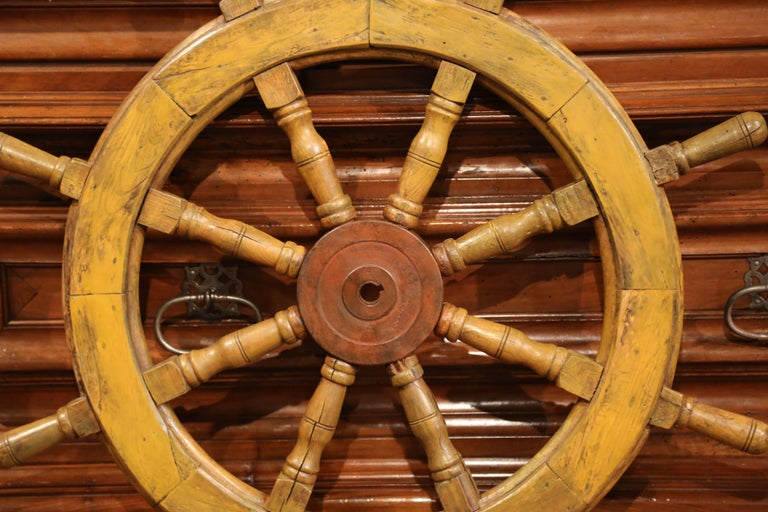 19th Century French Carved Walnut and Iron Painted Sailboat Wheel For Sale 1