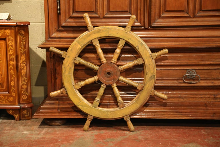 19th Century French Carved Walnut and Iron Painted Sailboat Wheel For Sale 2