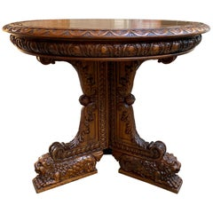 19th Century French Carved Walnut Center Table Round Foyer Lion Louis XIV Style