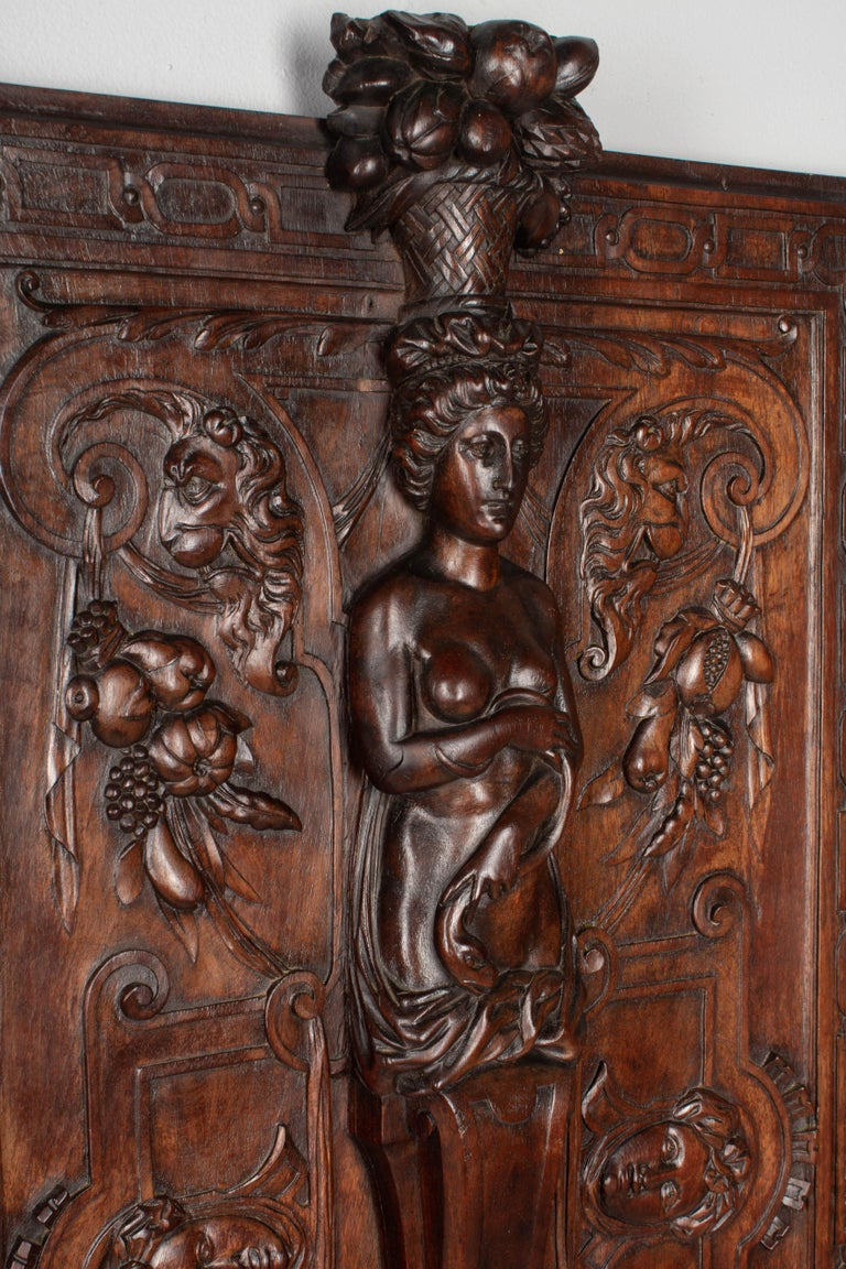 Renaissance Revival 19th Century French Carved Walnut Decorative Panel For Sale