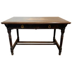 19th Century French Carved Walnut Inlaid Writing Table