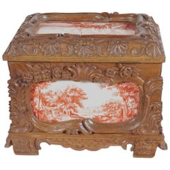 19th Century French Carved Walnut Jewelry Box with Painted Pastoral Scenes Tiles