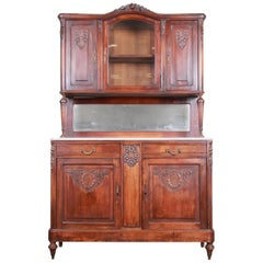 19th Century French Carved Walnut Marble Top Sideboard with Hutch