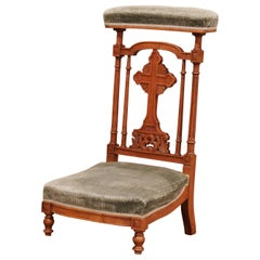 """19th Century French Carved Walnut Prayer Bench or """"Prie-Dieu"""" with Green Velvet"""