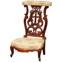 """19th Century French Carved Walnut Prayer Bench or """"Prie-Dieu"""" with Silk Fabric"""