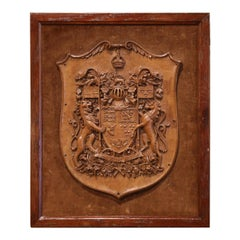 19th Century French Carved Walnut Royal Coat of Arms of Canada