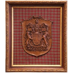 19th Century French Carved Walnut Royal Coat of Arms of Canada in Gilt Frame