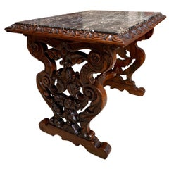 19th Century French Carved Walnut Side Accent Table Marble Top Petite Louis XV