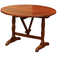 19th Century French Carved Walnut Tilt-Top Wine Tasting Table from Bordeaux