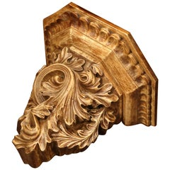 19th Century French Carved Walnut Wall Bracket with Scroll Leaf Decor