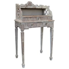 19th Century French Carved White Bedside Table with Drawer