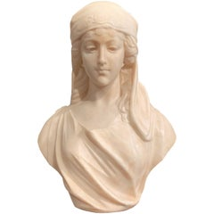 19th Century French Carved White Marble Bust Sculpture of Young Beauty