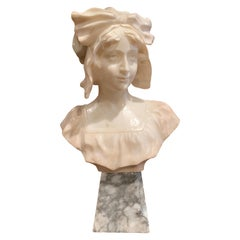 19th Century French Carved White Marble Woman Bust Sculpture on Grey Base