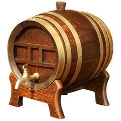 19th Century French Carved Wood and Brass Cognac Barrel on Stand