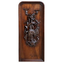 19th Century French Carved Wood Black Forest Hunt Wall Plaque Hanging Pheasant