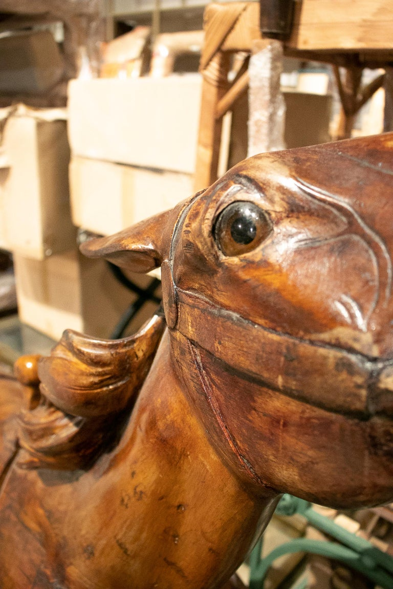 Hand-Carved 19th Century French Carved Wood Carousel Horse For Sale