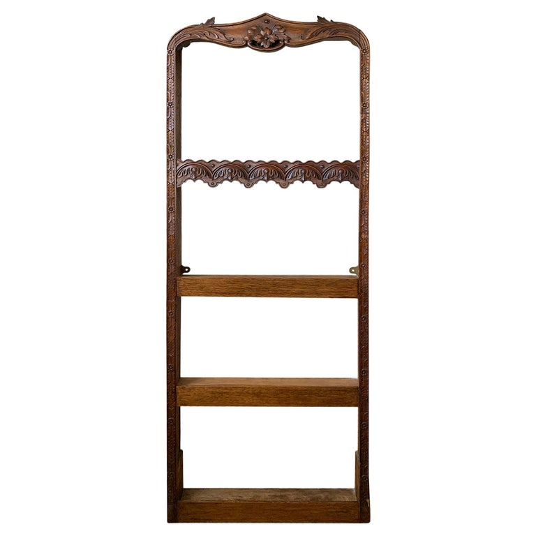 19th Century French Carved Wooden Plate Rack For Sale