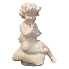19th Century French Carved Young Child on Cushion Marble Sculpture Composition