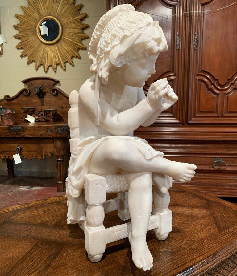19th Century French Carved Young Girl on Chair Marble Sculpture Composition For Sale 6