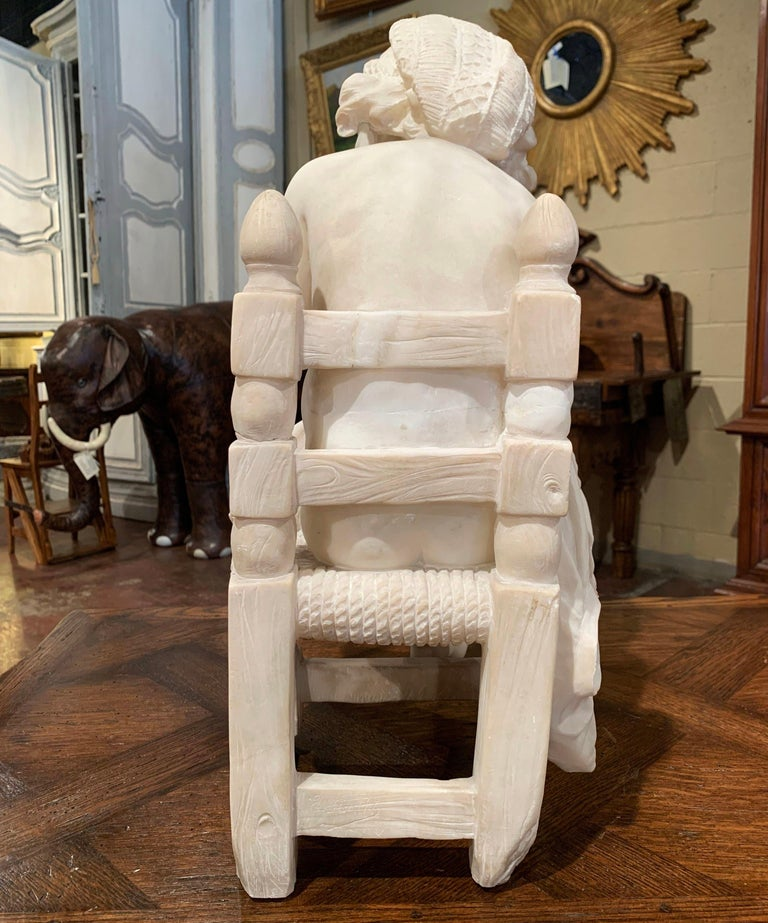 19th Century French Carved Young Girl on Chair Marble Sculpture Composition For Sale 8