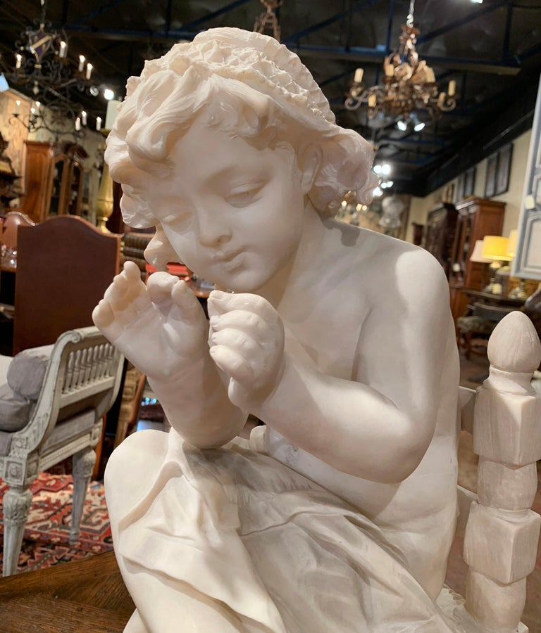Hand-Carved 19th Century French Carved Young Girl on Chair Marble Sculpture Composition For Sale