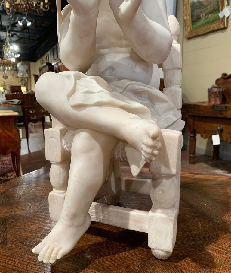 19th Century French Carved Young Girl on Chair Marble Sculpture Composition In Excellent Condition For Sale In Dallas, TX