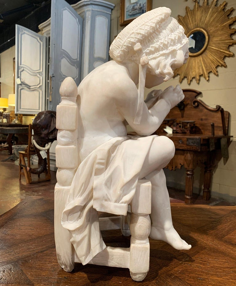19th Century French Carved Young Girl on Chair Marble Sculpture Composition For Sale 3