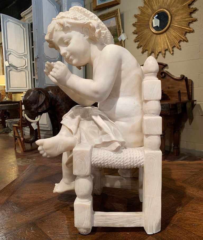 19th Century French Carved Young Girl on Chair Marble Sculpture Composition For Sale 4