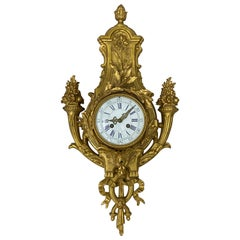 19th Century French Cast Bronze and Gilded Wall Clock, circa 1880