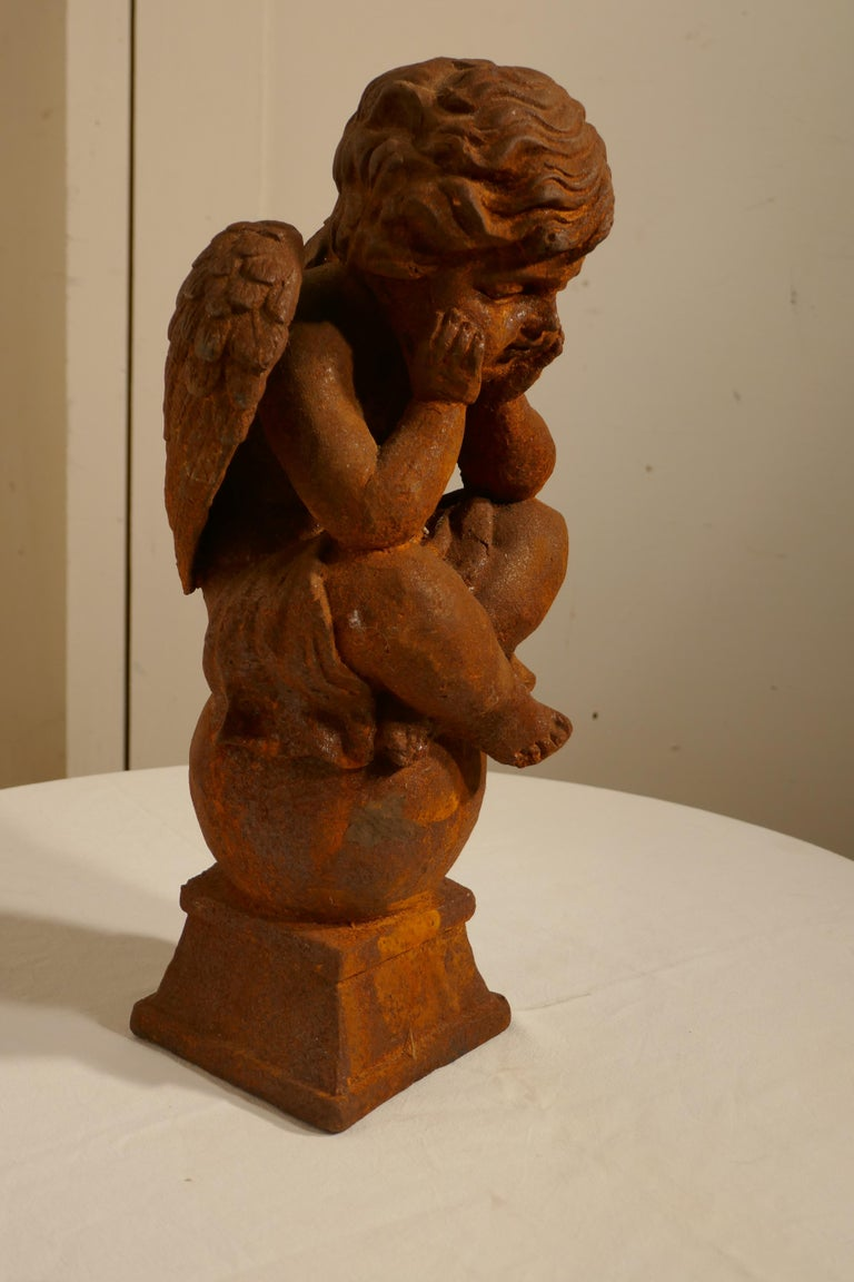 19th Century French Cast Iron Angel, Putti Deep in Thought In Good Condition For Sale In Chillerton, Isle of Wight