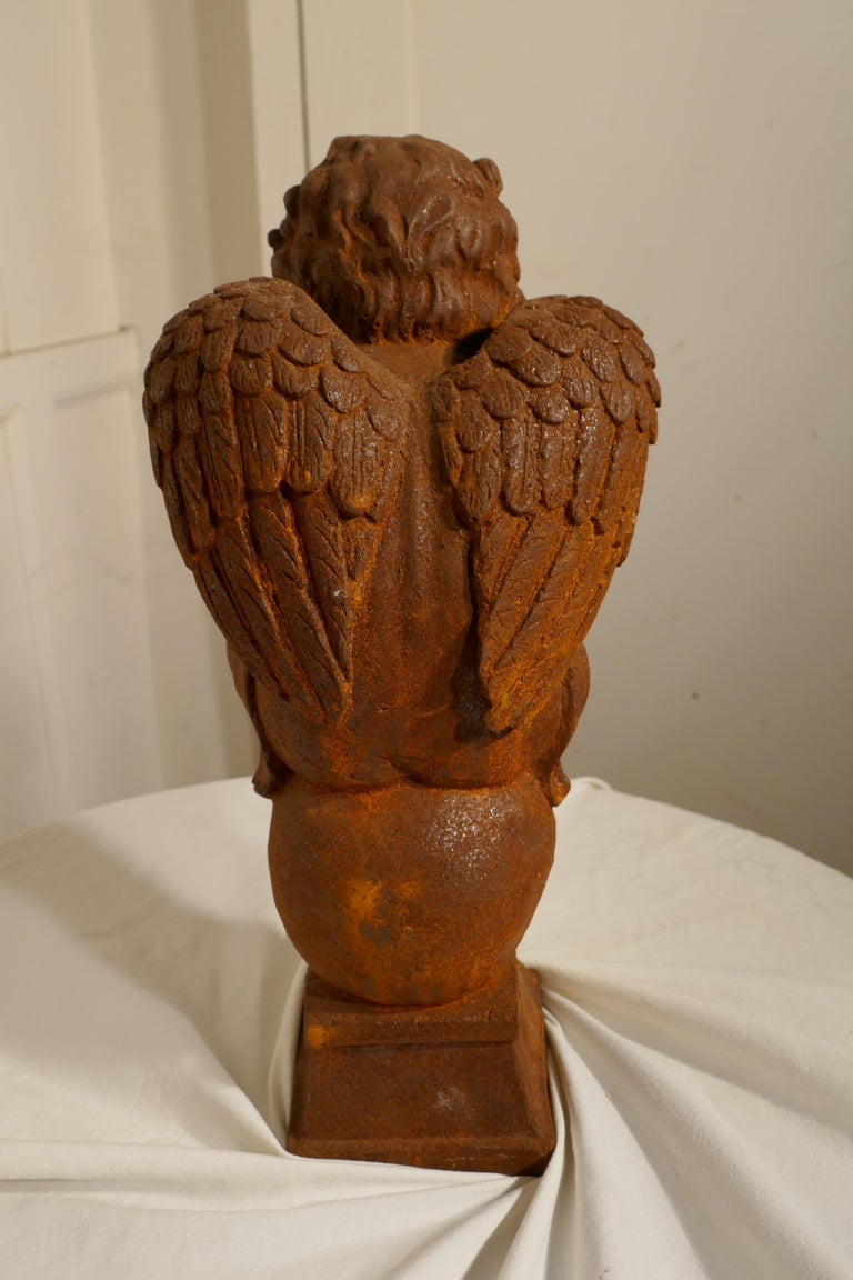 19th Century French Cast Iron Angel, Putti Deep in Thought For Sale 1