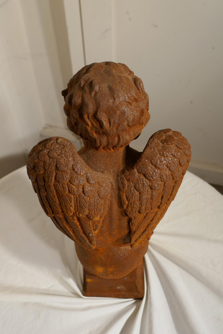 19th Century French Cast Iron Angel, Putti Deep in Thought For Sale 3