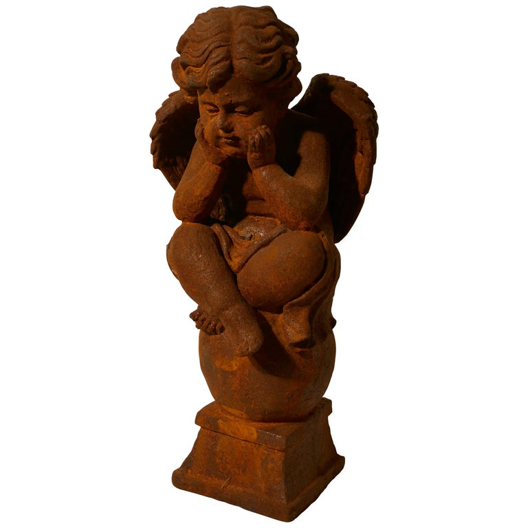 19th Century French Cast Iron Angel, Putti Deep in Thought For Sale