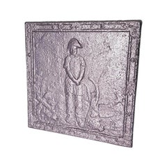 19th Century French Cast Iron Fireback with Image of Farmer with a Napoleon Hat.