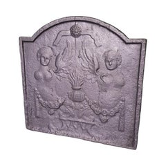 19th Century French Cast Iron Louis XVI Style Fireback with Angels