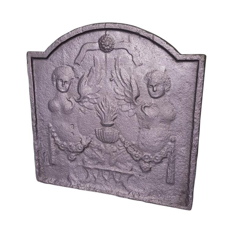 19th Century French Cast Iron Louis XVI Style Fireback with Angels For Sale