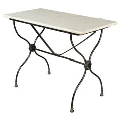19th Century French Cast Iron Marble-Top Bistro Table