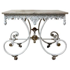 19th Century French Cast Iron Marble Topped Decorative Patisserie Side Table
