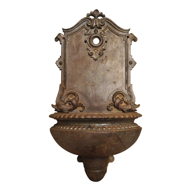 19th Century French Cast Iron Neoclassical Dolphin Garden Wall Fountain Basin For Sale