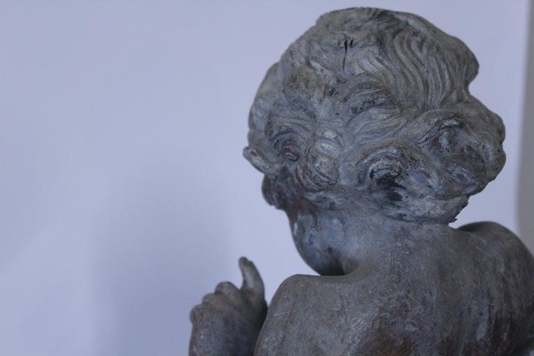 19th Century French Cast Lead Garden Cherub Statue In Good Condition For Sale In Geneva, IL