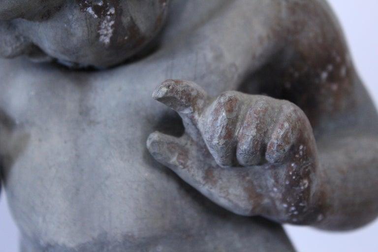 19th Century French Cast Lead Garden Cherub Statue For Sale 1