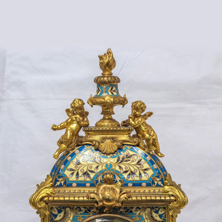 19th Century French Champleve Enamel and Ormolu Clock Set For Sale 7