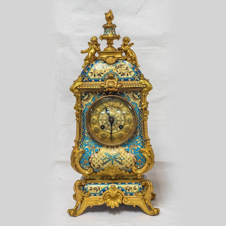 Champlevé 19th Century French Champleve Enamel and Ormolu Clock Set For Sale