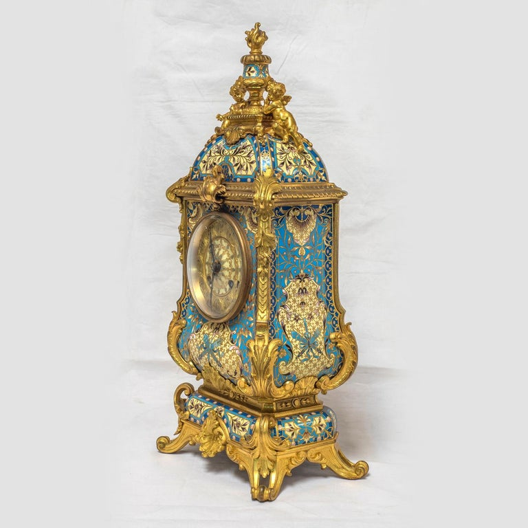 19th Century French Champleve Enamel and Ormolu Clock Set In Good Condition For Sale In New York, NY
