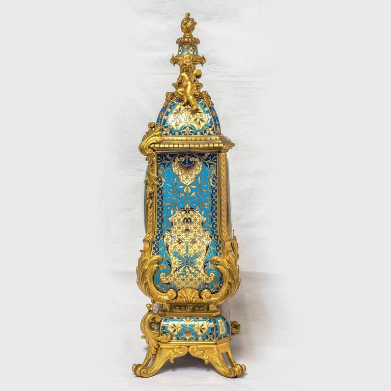 19th Century French Champleve Enamel and Ormolu Clock Set For Sale 1