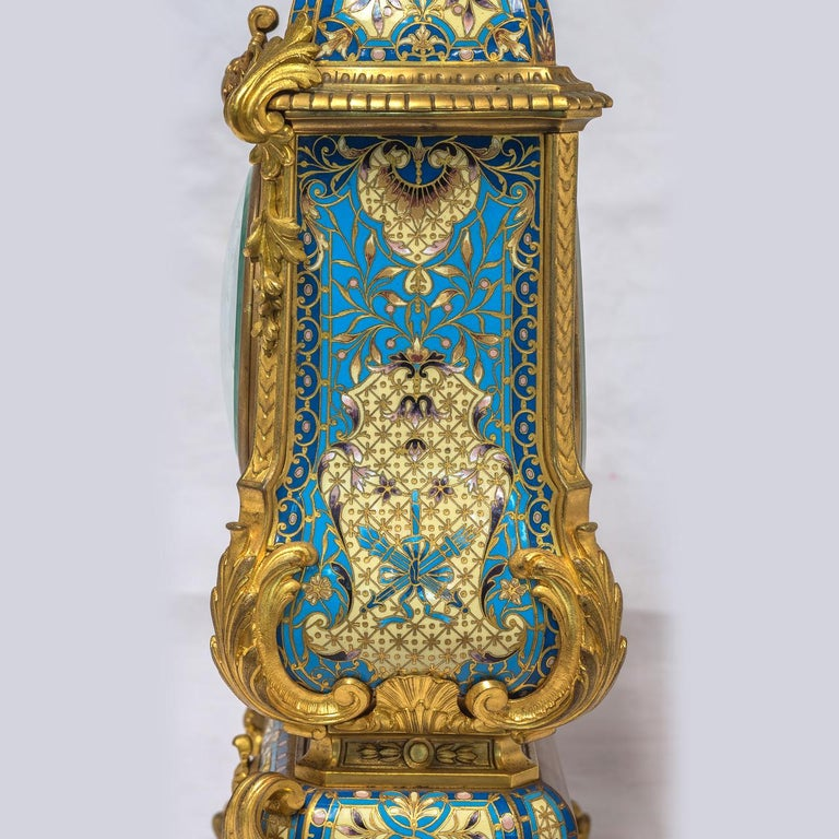 19th Century French Champleve Enamel and Ormolu Clock Set For Sale 3