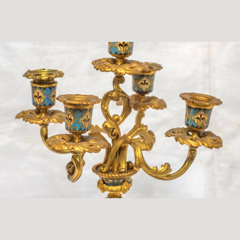19th Century French Champleve Enamel and Ormolu Clock Set For Sale 5