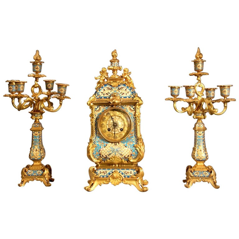 19th Century French Champleve Enamel and Ormolu Clock Set For Sale
