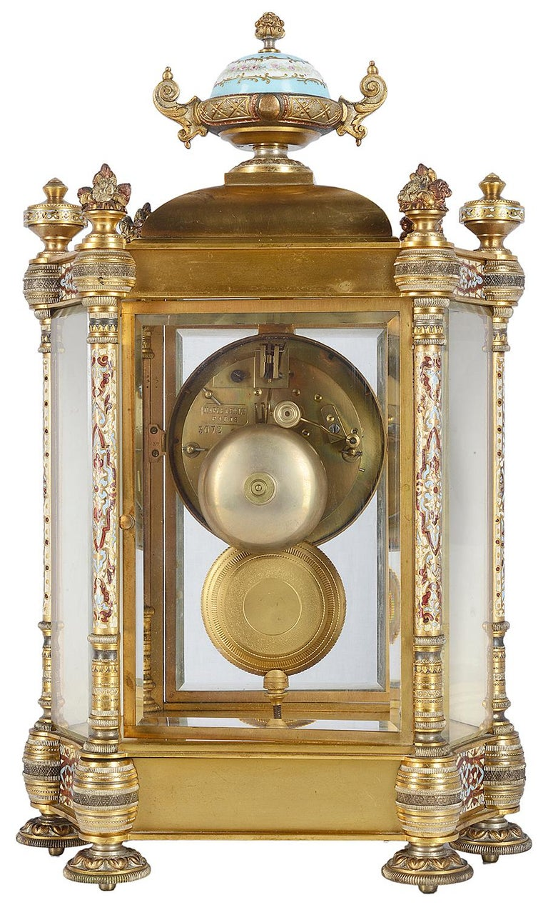 19th Century French Champlevé Enamel Clock Garniture For Sale 6